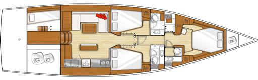Sense 57 layout 4 cabine / 3 bagni